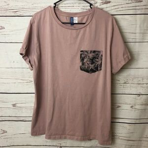 H&M Short Sleeve Mauve Palm Tree Tee
